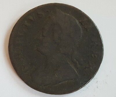 1751 Half Penny. George 11 British Milled Copper Coins.