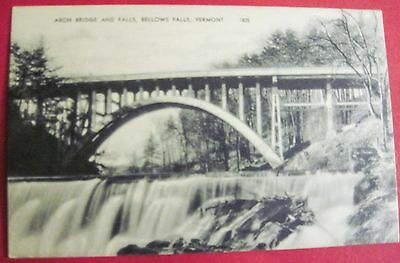 Arch Bridge and Falls, Bellows Falls, Vermont Postcard