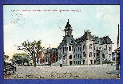 City Hall, Townsend Industrial & New High School, Newport, RI 1908 Postcard
