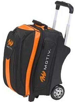 Motiv 2 Ball Deluxe Roller Bowling Bag with Urethane Wheels Black/Orange