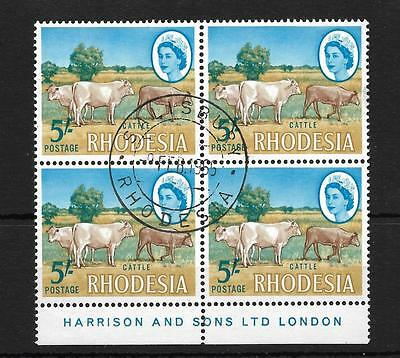 Rhodesia, 1966 Harrison Issue, 5/-, Sg 385 Cattle, Fine Used Imprint Block 4