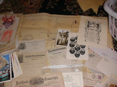 Lot of Vintage Emphemera Correspondence Prints Maps Deeds Blueprints Checks Etc.