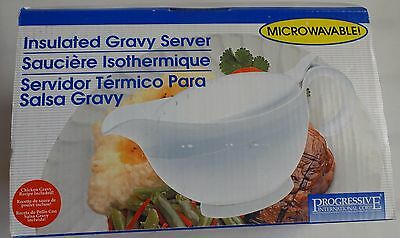 Insulated White Gravy Boat Microwavable Progressive International 2 Cups New