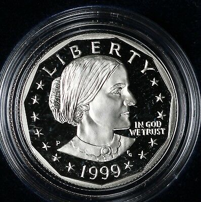 Beautiful Proof Deep Cameo 1999-P Susan B. Anthony Dollar - In Mint Box with COA