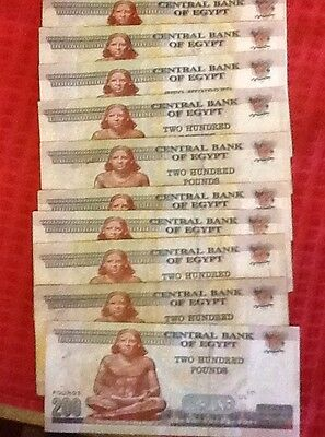 2000 EGYPTIAN POUNDS 10 X 200le Notes HOLIDAY MONEY FROM UK BANK