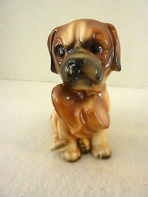 Vintage BOXER PUPPY DOG PUPPY Figurine JAPAN Holding Shoe In Mouth