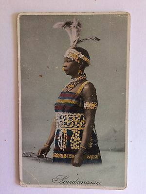 Sudanese Ethnic Woman Tribal Costume Early Postcard