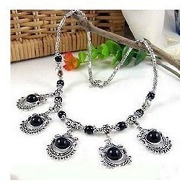 2016 Rare Tibet Tribal jewelry Silver black Coral Necklace K1