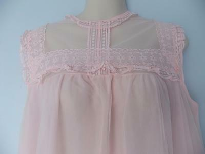 Vintage Nightgown Lingerie Sheer Double Nylon Chiffon Lace Sissy Lacy Nos