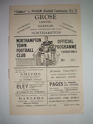 Northampton Town (Res)  V  Fulham ( Res)    15-11-1952.