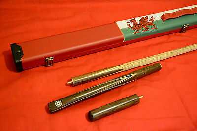 3/4 Handmade Ash Snooker / Pool Cue + Welsh Dragon Flag Case Set All Included