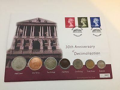 30Th Anniversary Of Decimalisation 2001 Coin Cover Threadneedle St. London H/s