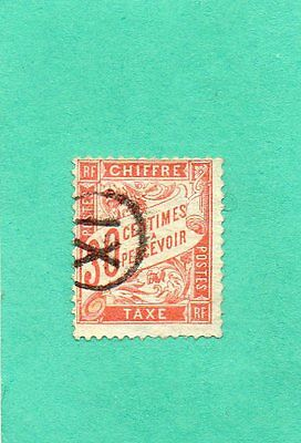 Timbre France Taxe N°34 Oblitere.tb .cote 100.00