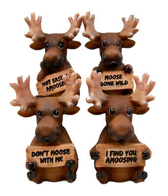 Adorable Deer Elk Moose Family Holding Funny Signs Figurine Set Of 4 Collectible