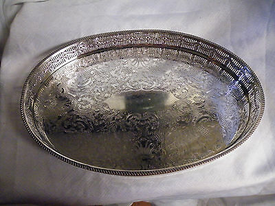 Vintage Oval Silver Plated Gallery Serving Tray by E.H. Parkin Sheffield.