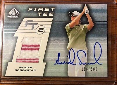 2003 UD Game Used First Tee Golf Auto Shirt Rookie Card Annika Sorenstam #/500!