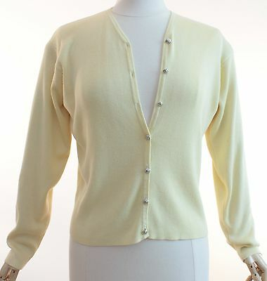 Versace Knit Yellow Cardigan Sweater with Medusa Buttons Sz L 1990s Vintage