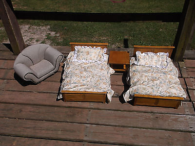 Vintage  Doll Furniture -Two Beds with bedding Night stand and Chair