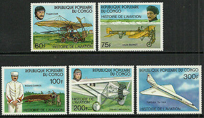 Congo, Rep 421-5 Mint Never Hinged Set - History of Aviation