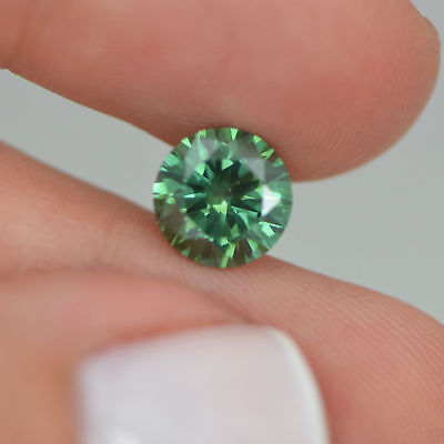 Round 2.03 Carat Green Color VS2 Enhanced Loose Real Diamond For Solitaire Ring