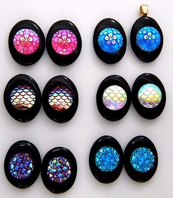 LOT 12 PCS IRIDESCENT RESIN CABS for earrings ( no dichroic ) FUSED GLASS (BD18)