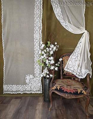 "Gorgeous PAIR of Antique Tambour Lace Curtains 88x29"" French Chateau"
