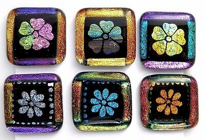 FLOWERS colorful Lot 6 pcs DICHROIC FUSED GLASS (O14) scrapbook CAB MOSAIC