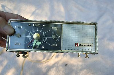 VINTAGE 1960's OLD BULOVA Watch Transistor Clock Radio Serial 130 Model COOL !