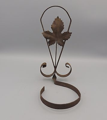 Vintage Rusty Wrought Iron Plant Pot Holder Maple Leaf