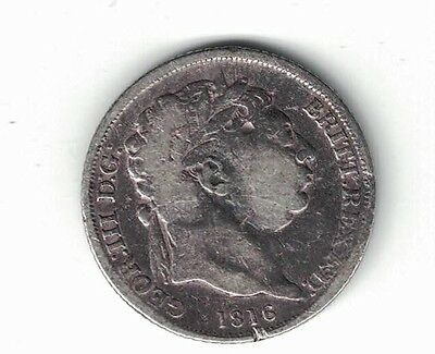 Great Britain 1816 Sixpence King George Iii Sterling Silver Coin