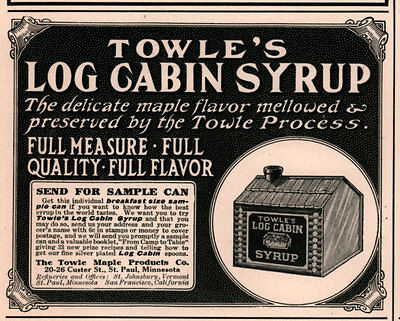 Ad Lot Of 4 1890's - 23 Ads Towle Log Cabin Syrup
