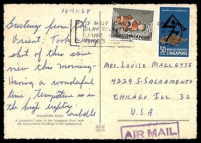 Singapore Do Not Cause Delay to Letter Slogan Cancel 1968 Postcard to US