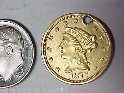 1879 Liberty $2.50 Gold Quarter Eagle With Engraved Reverse Love Token