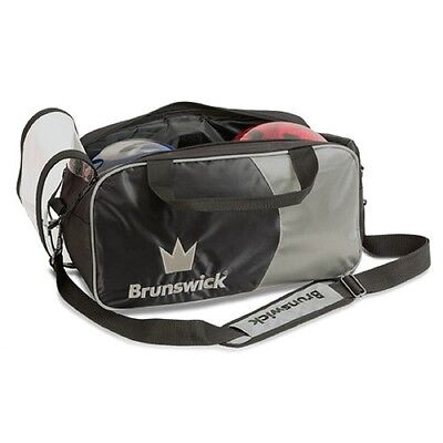 Brunswick Crown 2 Ball Tote Bowling Bag Black/Silver New