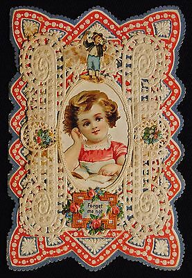 """Victorian Era 3"""" X 5"""" 3D Embossed Pop Up Doily Valentine """"Forget Me Not"""""""