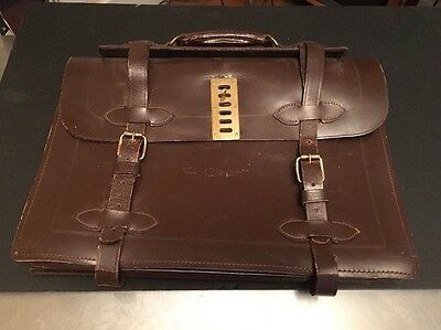 Vintage U.S. Military-issued accordion-style briefcase Type II, Leather