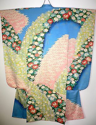 Fabulous Japanese Vintage Furisode Silk Kimono With Arches Of Flowers