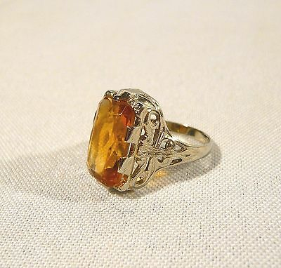 ART DECO 18K Gold & Yellow Stone  Antique Ladies RING Size 6 1/4  Filigree 4.8g
