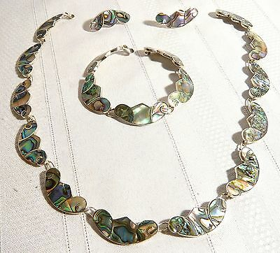 Signed L.S. STERLING SILVER & ABALONE MEXICO NECKLACE BRACELET EARRINGS SET   LS