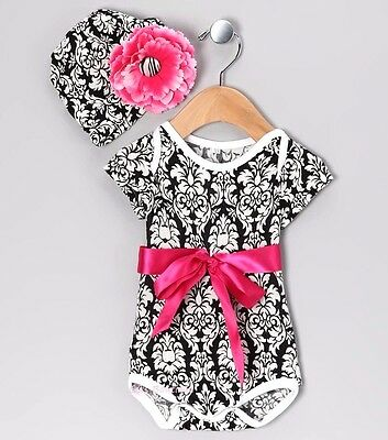 22304e182 Girls BABY GEM boutique outfit 0-3 NWT photos black white damask flower  beanie
