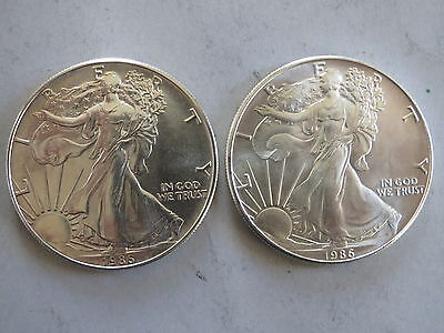 Lot of (2) 1 oz. American Silver Eagles - 1986 Better Early Date