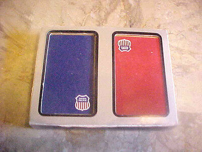 Vintage Union Pacific Railroad Playing Cards Iob Sealed Dual Deck Red & Blue Usa