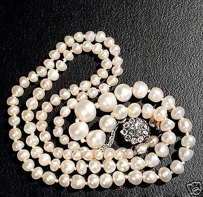 ANTIQUE Graduated Natural PEARL NECKLACE with DIAMOND Clasp / c.1830 England