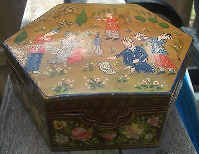 Lush Handpainted Persian Hexagonal Orientalist Jewelry Box 7""
