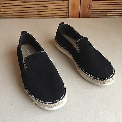 'Country Road' BLACK Suede LEATHER Slip On LOAFER Espadrille FLATS Shoes SIZE 37