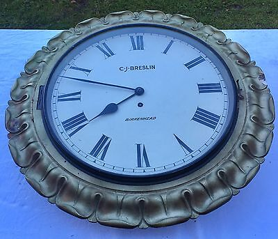 "Massive Antique Fusee Wall Clock 14""dial 20.5""surround : C J BRESLIN BIRKENHEAD"