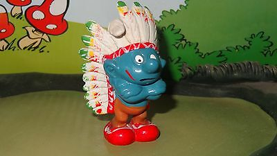 Smurfs Indian Smurf (Colored Feathers Variation) Rare Vintage Display Figurine