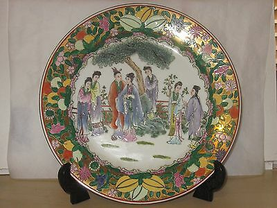 Beautiful Vintage Hand Painted Large Chinese  Plate Charger