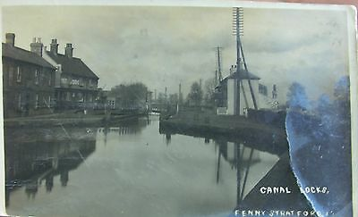 The Canal Locks At Fenny Stratford Buckinghamshire 1919 Rp Pc