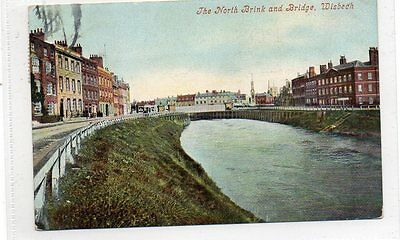 """""postcard The North Brink And Bridge,wisbech,cambridgeshire,dated 1906"""""
